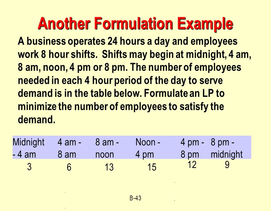 B-43 A business operates 24 hours a day and employees work 8 hour shifts.