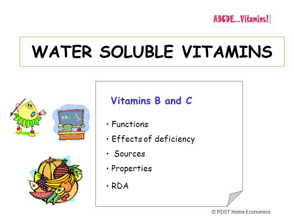 22 Properties Water soluble Unaffected by acids Sensitive to light and oxidation RDA 300 µg per day More during pregnancy Vitamin B -Folic Acid