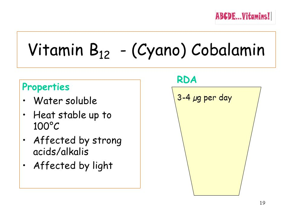 19 Properties Water soluble Heat stable up to 100°C Affected by strong acids/alkalis Affected by light RDA 3-4 µg per day Vitamin B 12 - (Cyano) Cobalamin