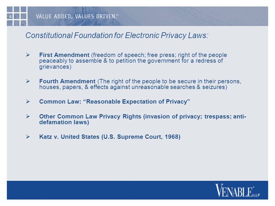 6 Constitutional Foundation for Electronic Privacy Laws:  First Amendment (freedom of speech; free press; right of the people peaceably to assemble &