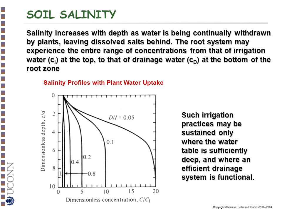 Copyright© Markus Tuller and Dani Or2002-2004 SOIL SALINITY Salinity increases with depth as water is being continually withdrawn by plants, leaving d
