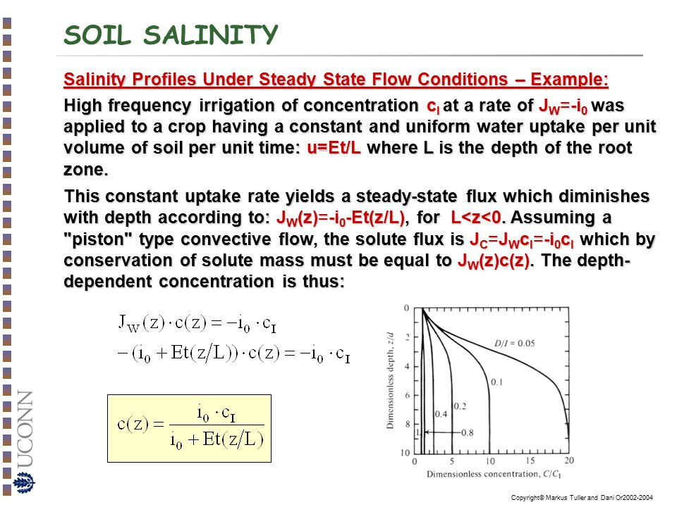 Copyright© Markus Tuller and Dani Or2002-2004 SOIL SALINITY Salinity Profiles Under Steady State Flow Conditions – Example: High frequency irrigation