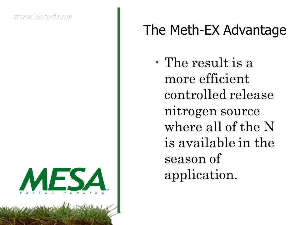 The Meth-EX Advantage The result is a more efficient controlled release nitrogen source where all of the N is available in the season of application.