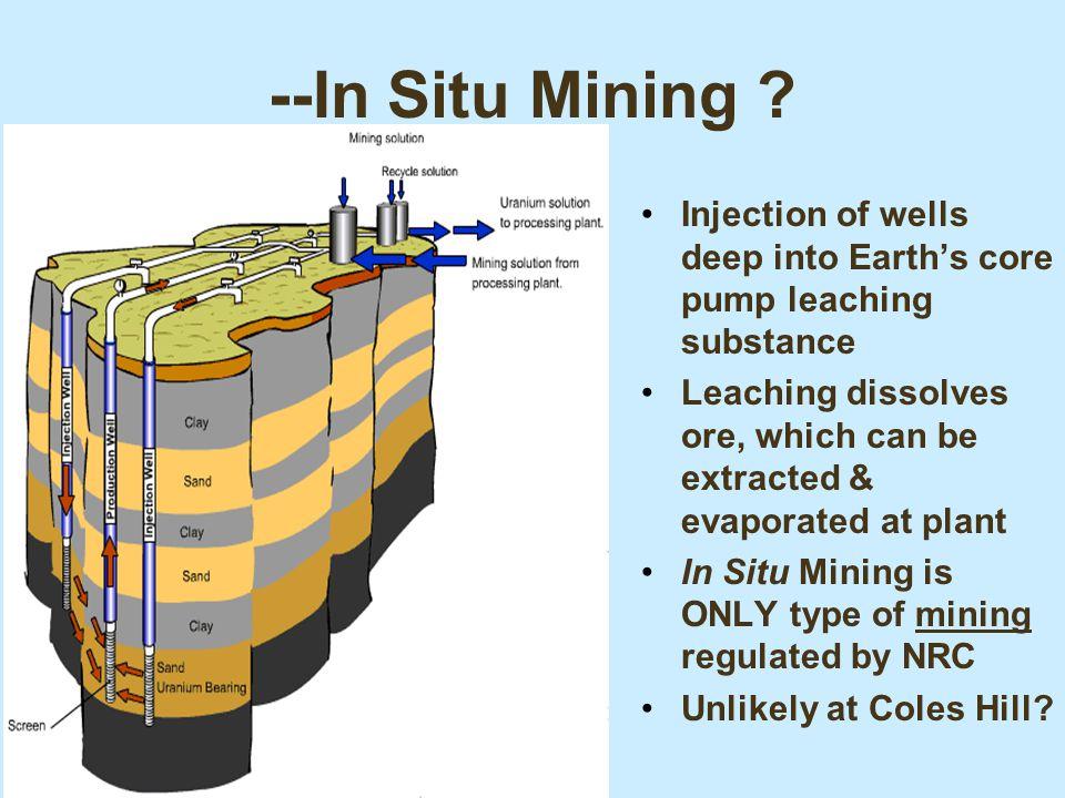 Summary of Process Uranium Extraction: pit, underground or ISL Beneficiation of ores: –Conventional: crushing, grinding, washing, pelletizing, etc.