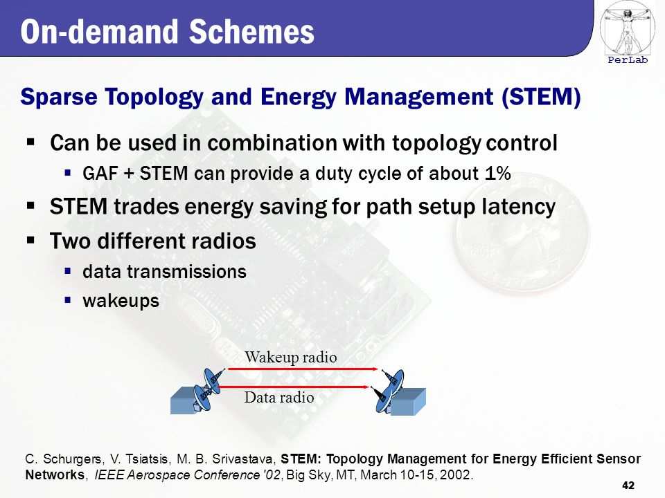 PerLab On-demand Schemes  Can be used in combination with topology control  GAF + STEM can provide a duty cycle of about 1%  STEM trades energy saving for path setup latency  Two different radios  data transmissions  wakeups Sparse Topology and Energy Management (STEM) C.
