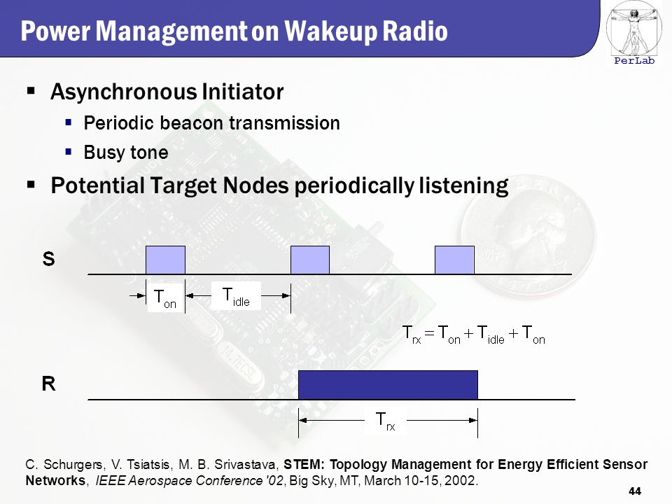 PerLab Power Management on Wakeup Radio  Asynchronous Initiator  Periodic beacon transmission  Busy tone  Potential Target Nodes periodically listening C.