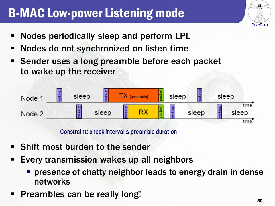 PerLab B-MAC Low-power Listening mode  Nodes periodically sleep and perform LPL  Nodes do not synchronized on listen time  Sender uses a long preamble before each packet to wake up the receiver  Shift most burden to the sender  Every transmission wakes up all neighbors  presence of chatty neighbor leads to energy drain in dense networks  Preambles can be really long.