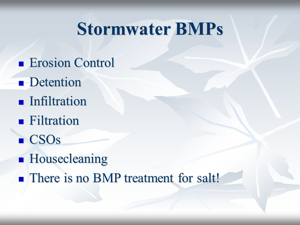 Stormwater BMPs Erosion Control Erosion Control Detention Detention Infiltration Infiltration Filtration Filtration CSOs CSOs Housecleaning Housecleaning There is no BMP treatment for salt.