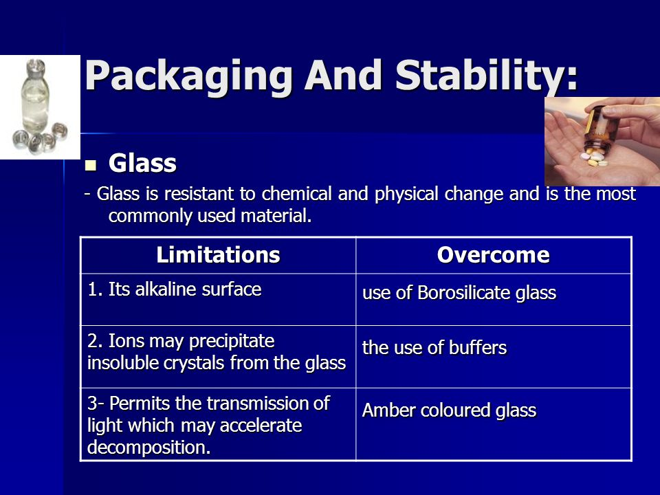 Packaging And Stability: Glass Glass - Glass is resistant to chemical and physical change and is the most commonly used material. LimitationsOvercome