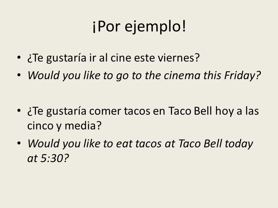 ¡Por ejemplo. ¿Te gustaría ir al cine este viernes.