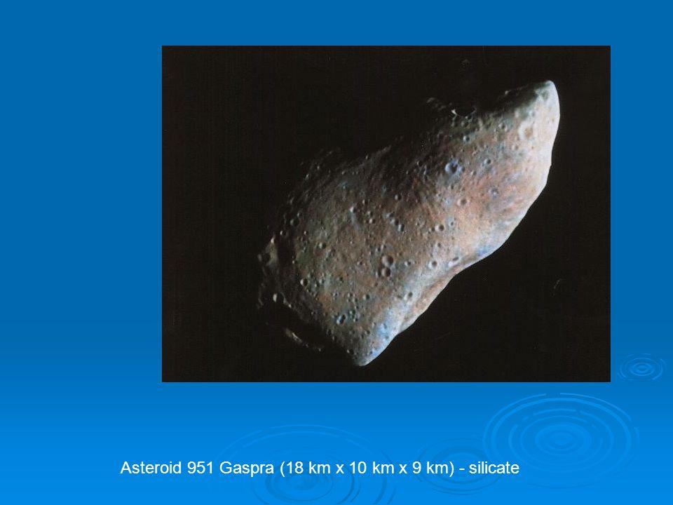 Asteroid 951 Gaspra (18 km x 10 km x 9 km) - silicate