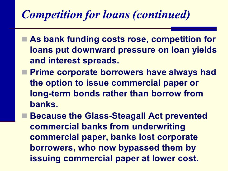 Competition for loans (continued) As bank funding costs rose, competition for loans put downward pressure on loan yields and interest spreads.