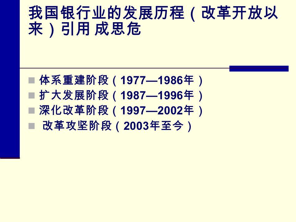 我国银行业的发展历程(改革开放以 来)引用 成思危 体系重建阶段( 1977—1986 年) 扩大发展阶段( 1987—1996 年) 深化改革阶段( 1997—2002 年) 改革攻坚阶段( 2003 年至今)