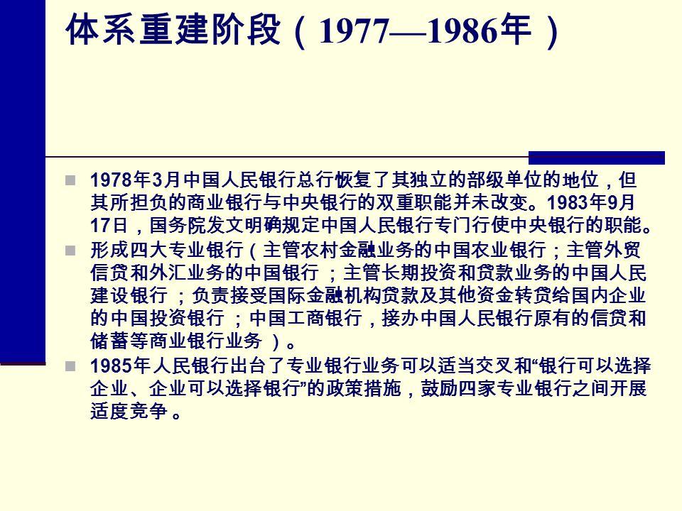 体系重建阶段( 1977—1986 年) 1978 年 3 月中国人民银行总行恢复了其独立的部级单位的地位,但 其所担负的商业银行与中央银行的双重职能并未改变。 1983 年 9 月 17 日,国务院发文明确规定中国人民银行专门行使中央银行的职能。 形成四大专业银行(主管农村金融业务的中国农业银行;主管外贸 信贷和外汇业务的中国银行 ;主管长期投资和贷款业务的中国人民 建设银行 ;负责接受国际金融机构贷款及其他资金转贷给国内企业 的中国投资银行 ;中国工商银行,接办中国人民银行原有的信贷和 储蓄等商业银行业务 )。 1985 年人民银行出台了专业银行业务可以适当交叉和 银行可以选择 企业、企业可以选择银行 的政策措施,鼓励四家专业银行之间开展 适度竞争 。