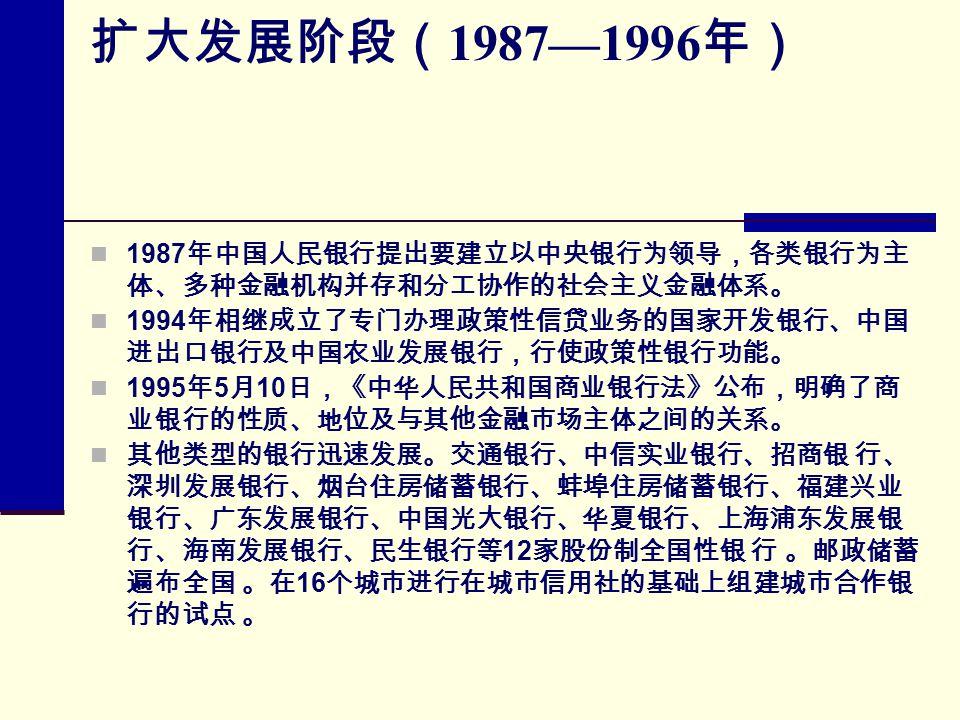 扩大发展阶段( 1987—1996 年) 1987 年中国人民银行提出要建立以中央银行为领导,各类银行为主 体、多种金融机构并存和分工协作的社会主义金融体系。 1994 年相继成立了专门办理政策性信贷业务的国家开发银行、中国 进出口银行及中国农业发展银行,行使政策性银行功能。 1995 年 5 月 10 日,《中华人民共和国商业银行法》公布,明确了商 业银行的性质、地位及与其他金融市场主体之间的关系。 其他类型的银行迅速发展。交通银行、中信实业银行、招商银 行、 深圳发展银行、烟台住房储蓄银行、蚌埠住房储蓄银行、福建兴业 银行、广东发展银行、中国光大银行、华夏银行、上海浦东发展银 行、海南发展银行、民生银行等 12 家股份制全国性银 行 。邮政储蓄 遍布全国 。在 16 个城市进行在城市信用社的基础上组建城市合作银 行的试点 。