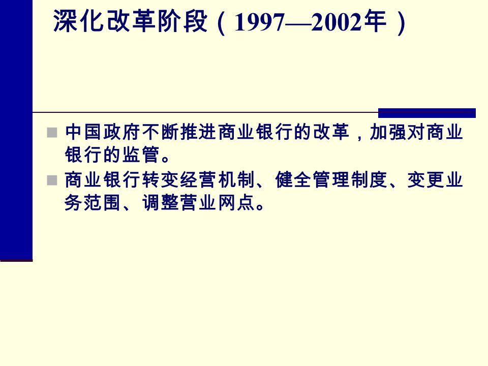 深化改革阶段( 1997—2002 年) 中国政府不断推进商业银行的改革,加强对商业 银行的监管。 商业银行转变经营机制、健全管理制度、变更业 务范围、调整营业网点。