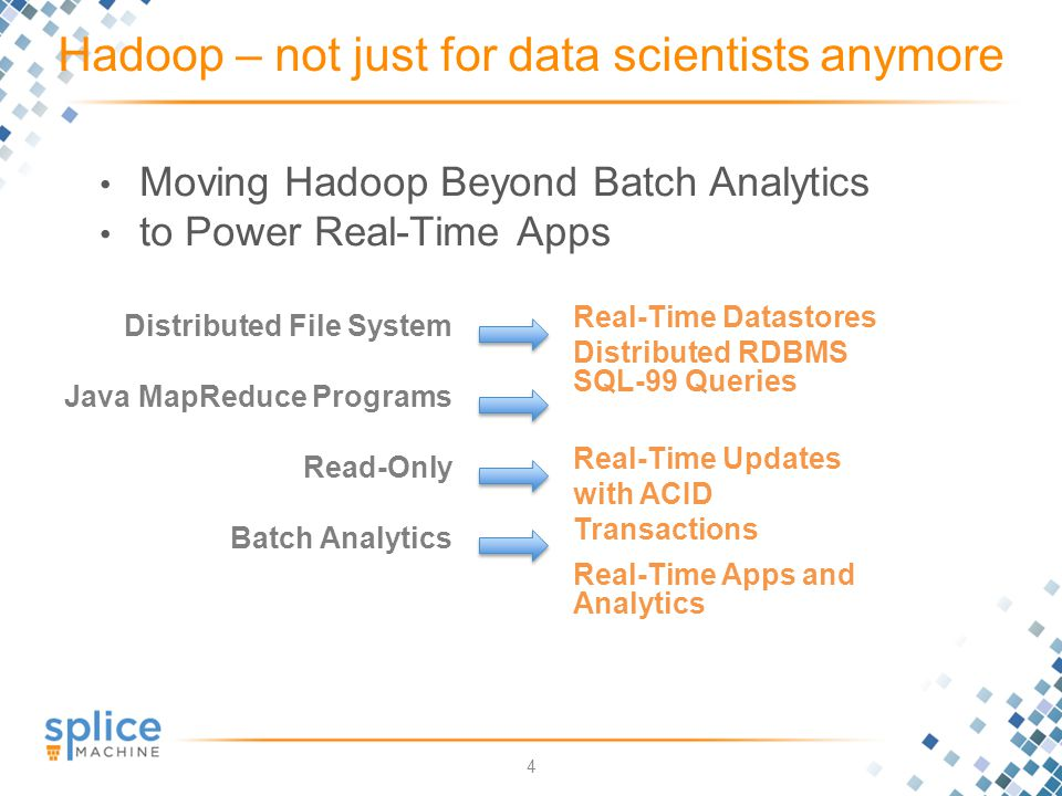 4 Moving Hadoop Beyond Batch Analytics to Power Real-Time Apps Hadoop – not just for data scientists anymore Distributed File System Java MapReduce Programs Read-Only Batch Analytics Real-Time Datastores Distributed RDBMS SQL-99 Queries Real-Time Updates with ACID Transactions Real-Time Apps and Analytics