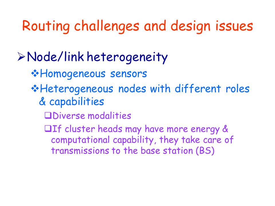 Routing challenges and design issues  Node/link heterogeneity  Homogeneous sensors  Heterogeneous nodes with different roles & capabilities  Diver