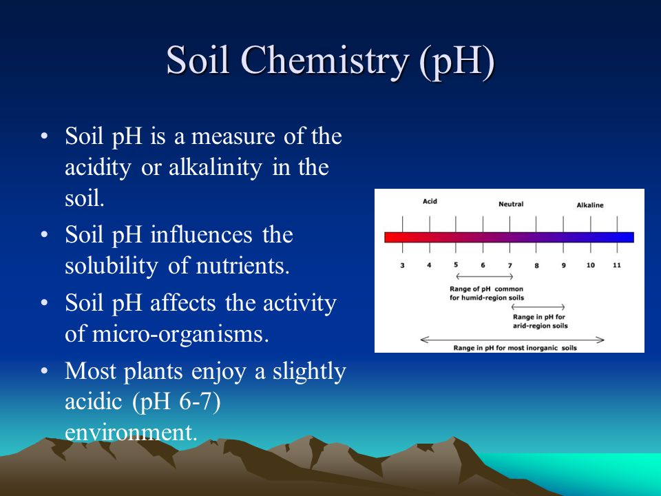 Soil Chemistry (pH) Soil pH is a measure of the acidity or alkalinity in the soil. Soil pH influences the solubility of nutrients. Soil pH affects the