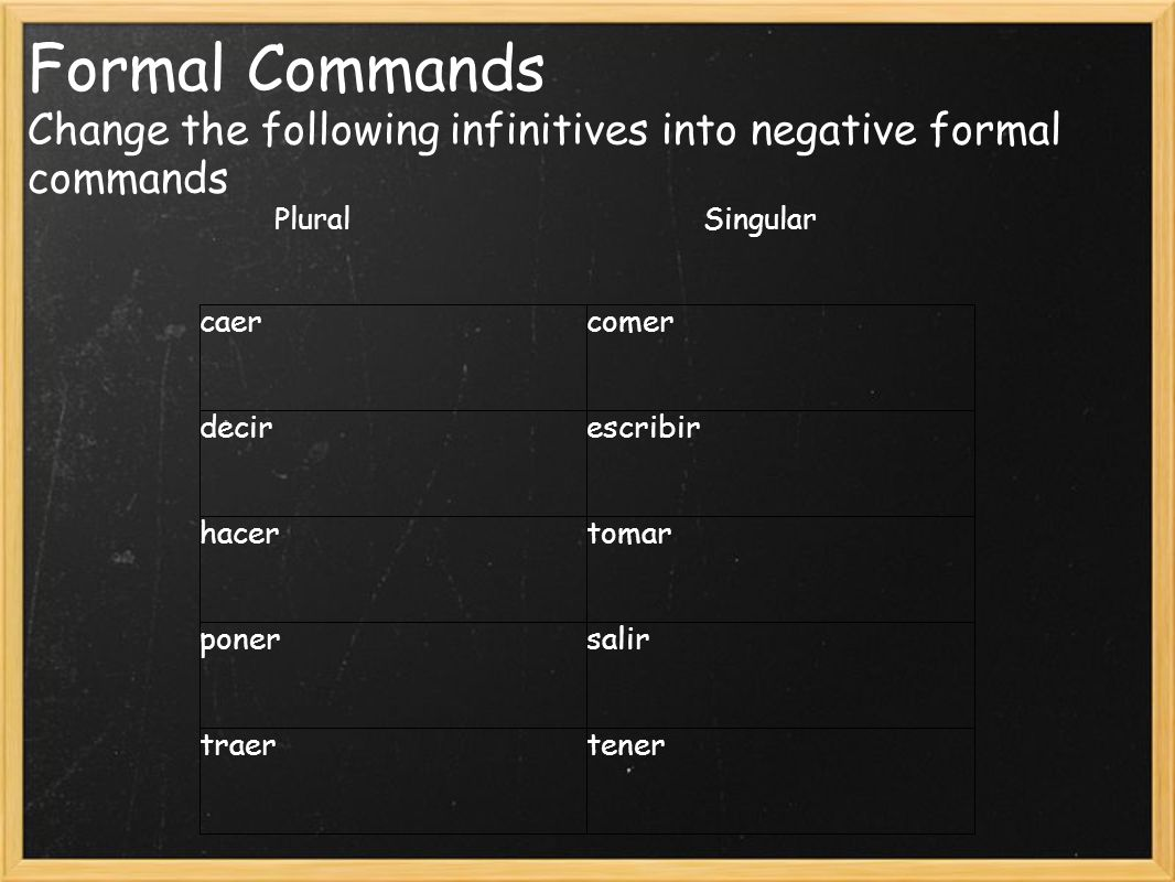 Informal Commands Change the following infinitives into informal commands caercomerse abrirescribirse hablartomarse volversesalir versetener