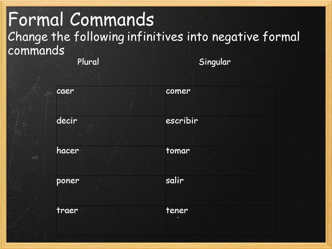 Formal Commands Change the following infinitives into negative formal commands Plural Singular caercomer decirescribir hacertomar ponersalir traertener