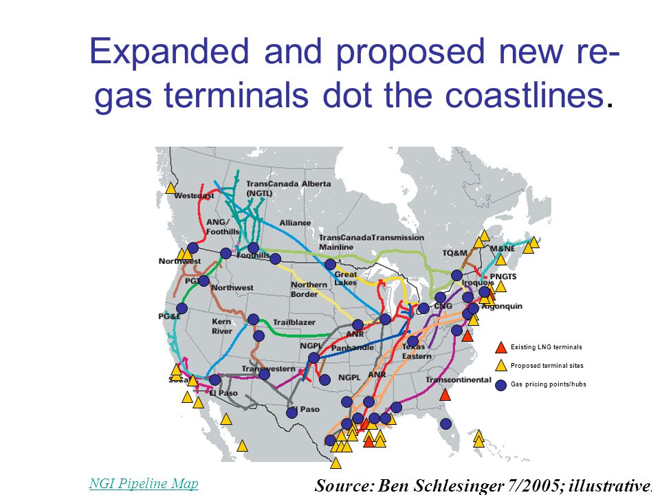 Expanded and proposed new re- gas terminals dot the coastlines.
