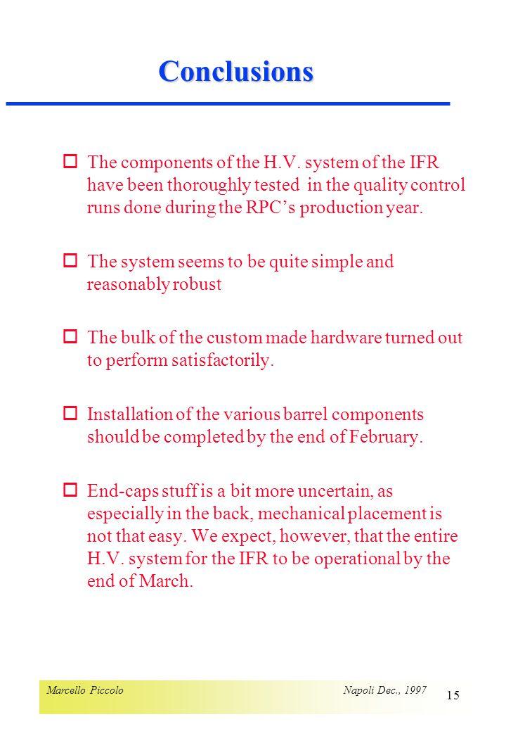Marcello Piccolo Napoli Dec., 1997 15 Conclusions oThe components of the H.V.