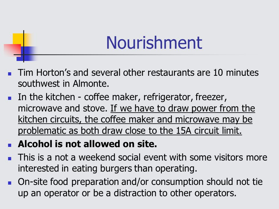 Nourishment Tim Horton's and several other restaurants are 10 minutes southwest in Almonte.