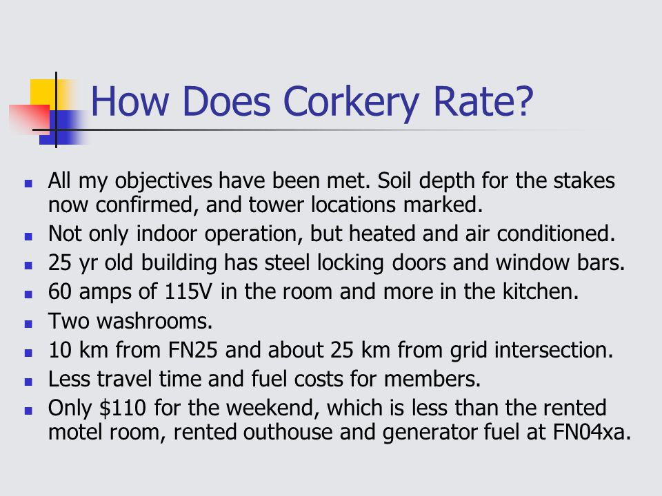 How Does Corkery Rate. All my objectives have been met.