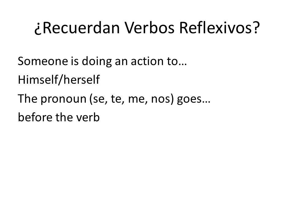 ¿Recuerdan Verbos Reflexivos.