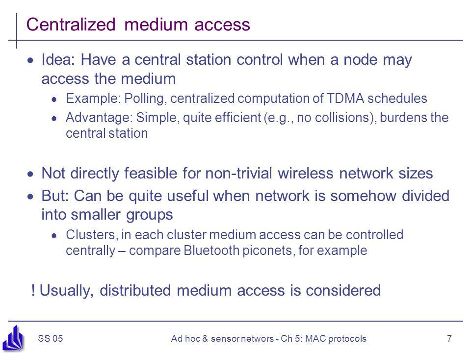 SS 05Ad hoc & sensor networs - Ch 5: MAC protocols8 Schedule- vs.