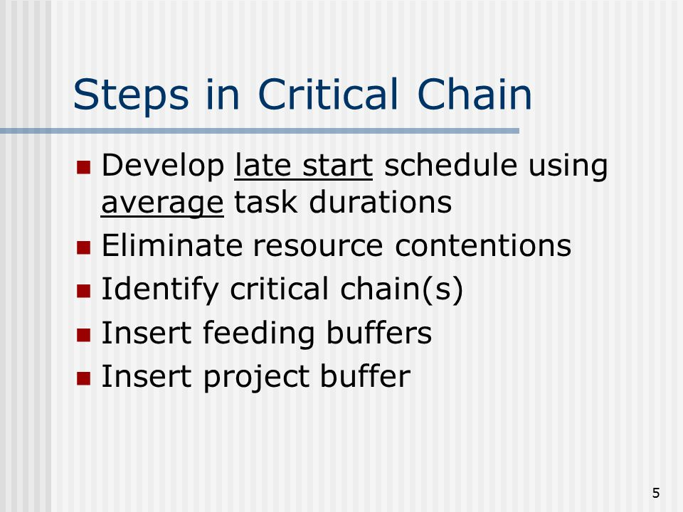 5 Steps in Critical Chain Develop late start schedule using average task durations Eliminate resource contentions Identify critical chain(s) Insert feeding buffers Insert project buffer