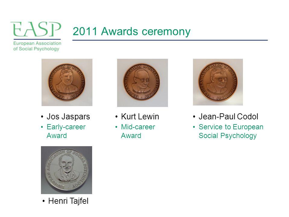 2011 Awards ceremony Kurt Lewin Mid-career Award Jos Jaspars Early-career Award Jean-Paul Codol Service to European Social Psychology Henri Tajfel