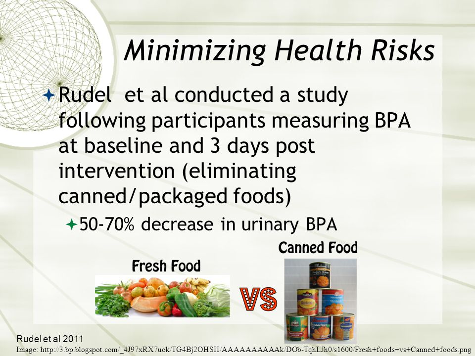 Minimizing Health Risks  Rudel et al conducted a study following participants measuring BPA at baseline and 3 days post intervention (eliminating canned/packaged foods)  50-70% decrease in urinary BPA Rudel et al 2011 Image: http://3.bp.blogspot.com/_4J97xRX7uok/TG4Bj2OHSII/AAAAAAAAAAk/DOb-TqhLJh0/s1600/Fresh+foods+vs+Canned+foods.png