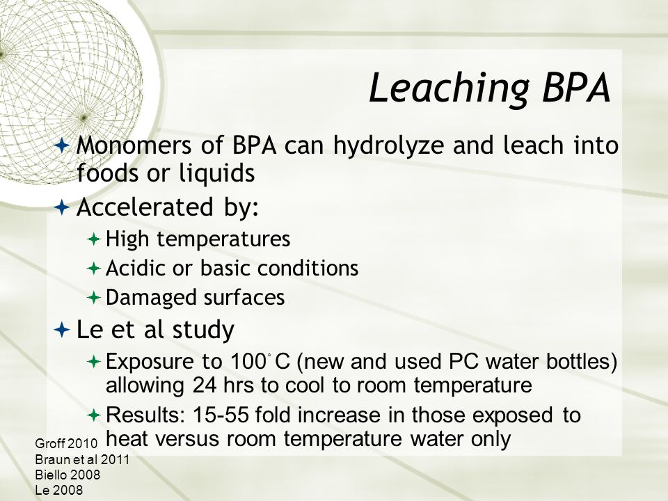 Leaching BPA  Monomers of BPA can hydrolyze and leach into foods or liquids  Accelerated by:  High temperatures  Acidic or basic conditions  Damaged surfaces  Le et al study  Exposure to 100 。 C (new and used PC water bottles) allowing 24 hrs to cool to room temperature  Results: 15-55 fold increase in those exposed to heat versus room temperature water only Groff 2010 Braun et al 2011 Biello 2008 Le 2008