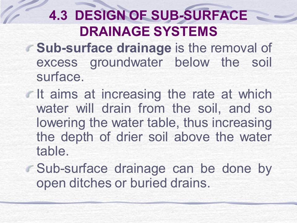 Surface Ditch Arrangements