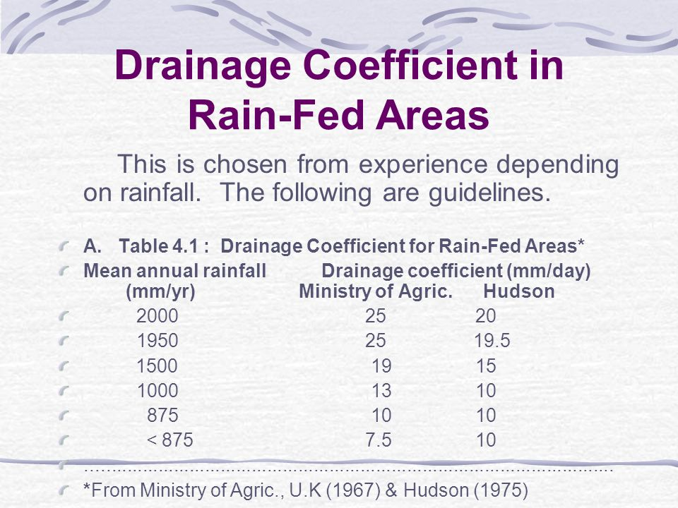 Drainage Coefficient This is the rate of water removal used in drainage design to obtain the desired protection of crops from excess surface or sub-surface water and can be expressed in mm/day, m/day etc.