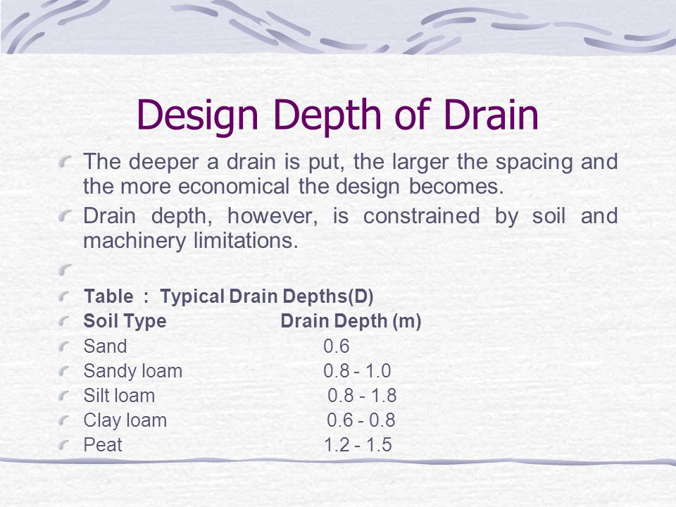 Design Water table depth (H): This is the minimum depth below the surface at which the water table should be controlled and is determined by farming needs especially crop tolerance to water.