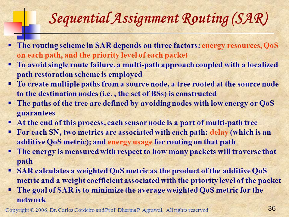 Copyright © 2006, Dr. Carlos Cordeiro and Prof Dharma P Agrawal, All rights reserved 36 Sequential Assignment Routing (SAR)  The routing scheme in SA