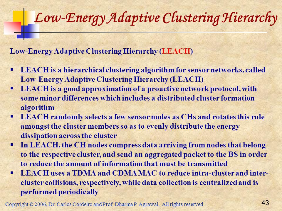 Copyright © 2006, Dr. Carlos Cordeiro and Prof Dharma P Agrawal, All rights reserved 43 Low-Energy Adaptive Clustering Hierarchy Low-Energy Adaptive C