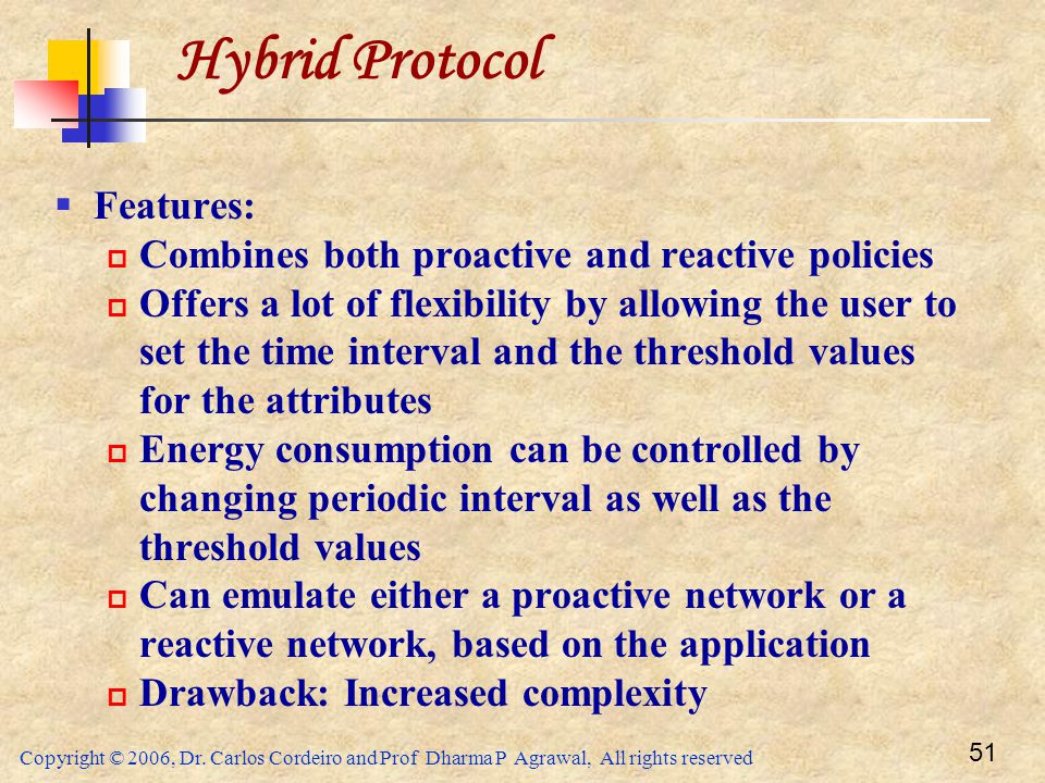 Copyright © 2006, Dr. Carlos Cordeiro and Prof Dharma P Agrawal, All rights reserved 51 Hybrid Protocol  Features:  Combines both proactive and reac