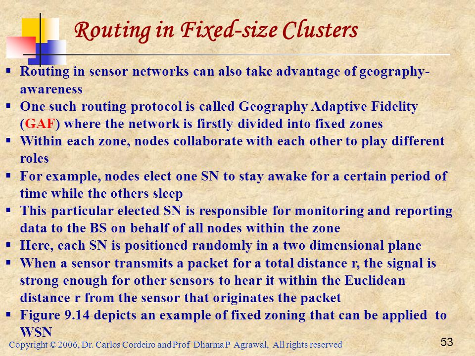 Copyright © 2006, Dr. Carlos Cordeiro and Prof Dharma P Agrawal, All rights reserved 53 Routing in Fixed-size Clusters  Routing in sensor networks ca