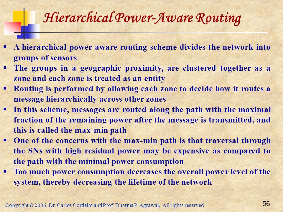Copyright © 2006, Dr. Carlos Cordeiro and Prof Dharma P Agrawal, All rights reserved 56 Hierarchical Power-Aware Routing  A hierarchical power-aware