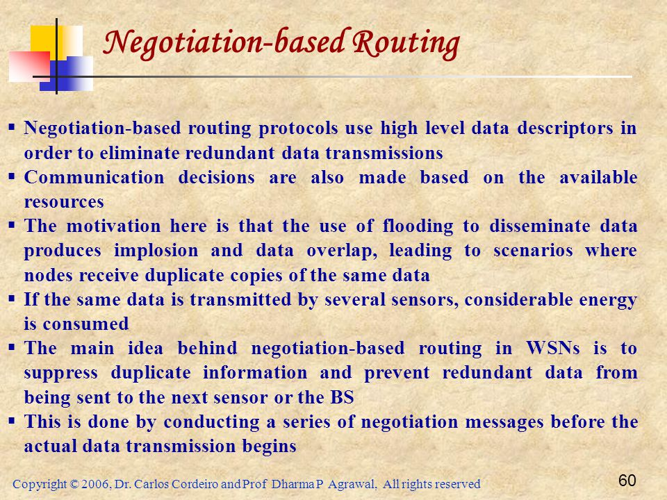 Copyright © 2006, Dr. Carlos Cordeiro and Prof Dharma P Agrawal, All rights reserved 60 Negotiation-based Routing  Negotiation-based routing protocol