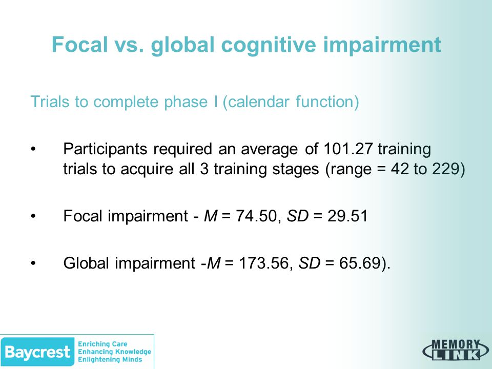 Focal vs. global cognitive impairment Trials to complete phase I (calendar function) Participants required an average of 101.27 training trials to acq
