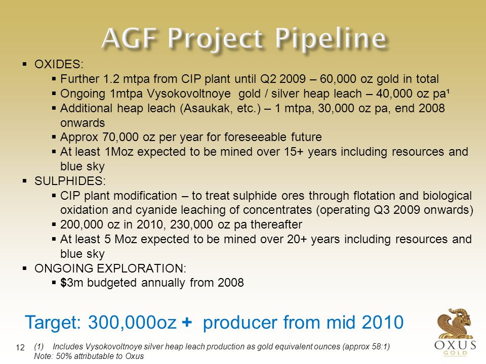 International Investment Forum 29 May 2007 Tashkent, Uzbekistan 12 AGF Project Pipeline  OXIDES:  Further 1.2 mtpa from CIP plant until Q2 2009 – 60,000 oz gold in total  Ongoing 1mtpa Vysokovoltnoye gold / silver heap leach – 40,000 oz pa¹  Additional heap leach (Asaukak, etc.) – 1 mtpa, 30,000 oz pa, end 2008 onwards  Approx 70,000 oz per year for foreseeable future  At least 1Moz expected to be mined over 15+ years including resources and blue sky  SULPHIDES:  CIP plant modification – to treat sulphide ores through flotation and biological oxidation and cyanide leaching of concentrates (operating Q3 2009 onwards)  200,000 oz in 2010, 230,000 oz pa thereafter  At least 5 Moz expected to be mined over 20+ years including resources and blue sky  ONGOING EXPLORATION:  $3m budgeted annually from 2008 Target: 300,000oz + producer from mid 2010 (1) Includes Vysokovoltnoye silver heap leach production as gold equivalent ounces (approx 58:1) Note: 50% attributable to Oxus