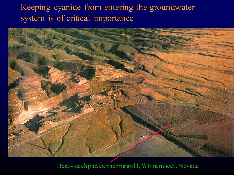 Heap-leach pad extracting gold, Winnemucca, Nevada Keeping cyanide from entering the groundwater system is of critical importance
