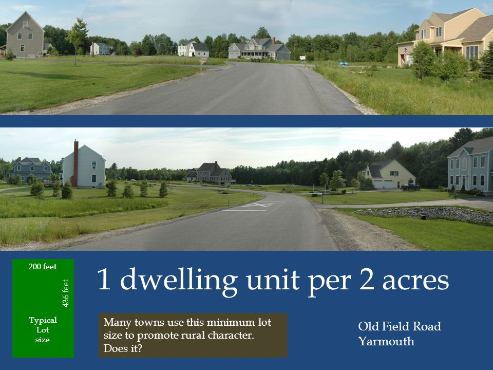 Typical Lot size 1 dwelling unit per 2 acres Old Field Road Yarmouth 200 feet 436 feet Many towns use this minimum lot size to promote rural character