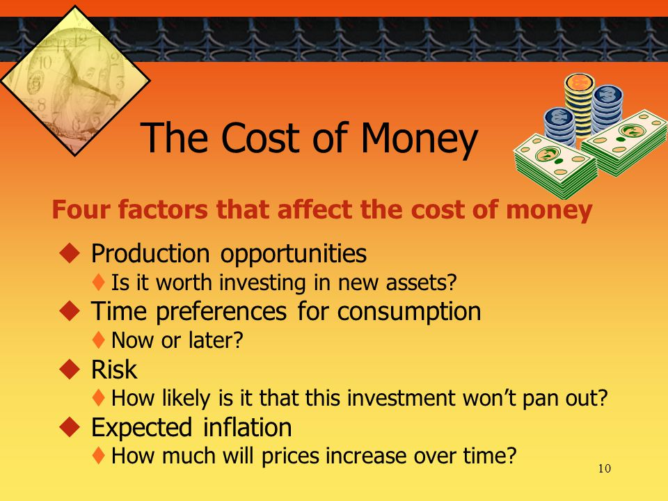 10 Four factors that affect the cost of money The Cost of Money  Production opportunities  Is it worth investing in new assets.