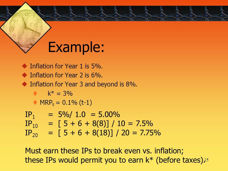 25  Inflation for Year 1 is 5%.  Inflation for Year 2 is 6%.